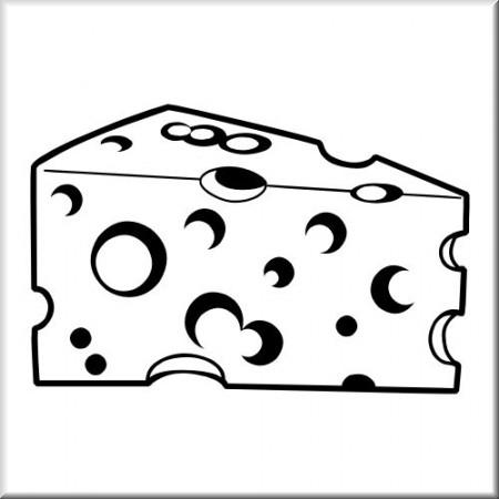 Käse clipart schwarz weiß  Käsestück
